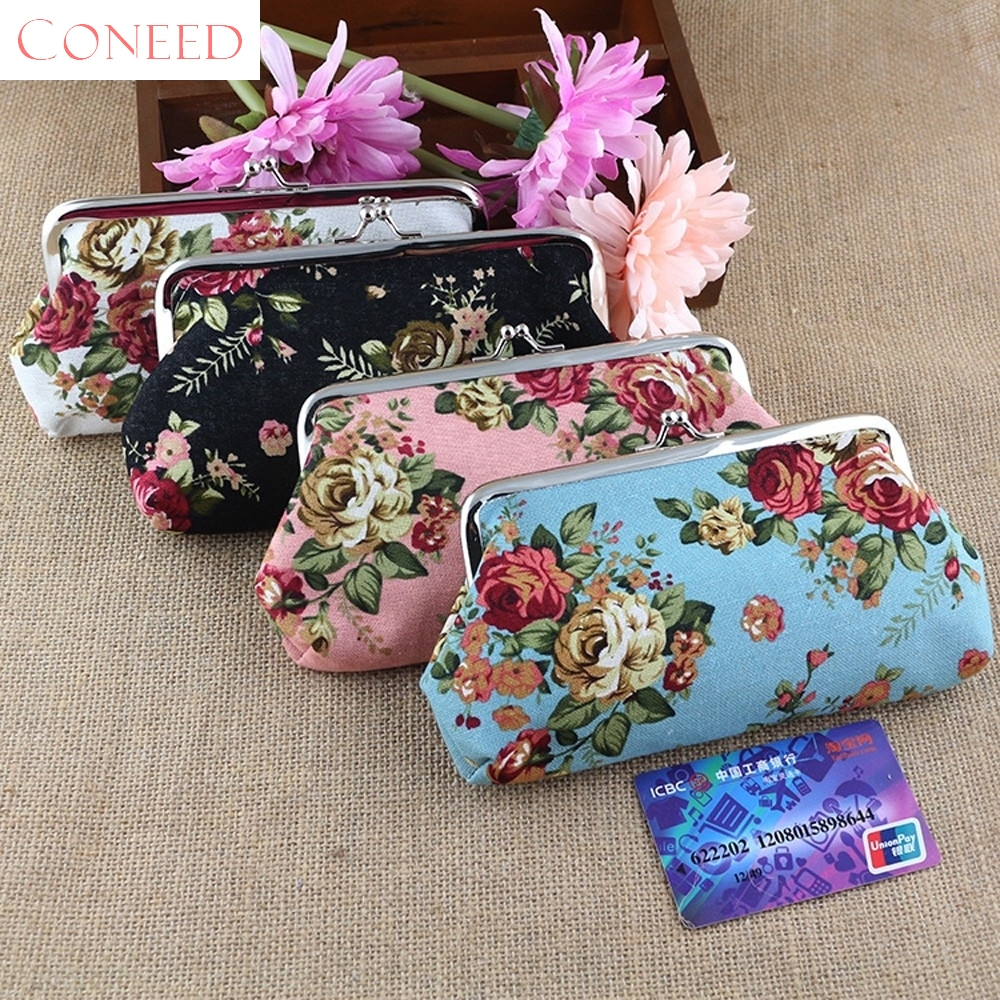 CONEED Drop Shipping Women Lady Retro Vintage Flower Small Wallet Hasp Purse Clutch Bag Coin Purses Best Gift Sep18 R30