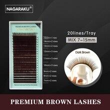 NAGARAKU mix 7~15mm,brown eyelash extension, brown lashes,brown eyelashes.
