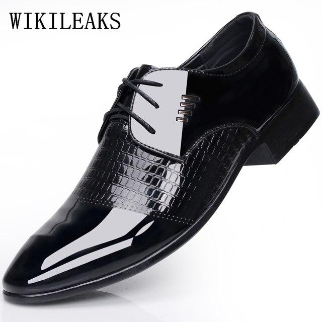 Black Designer Formal Oxford Shoes For Men Wedding Leather Italy Pointed Toe Mens Dress