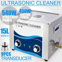 15 Liter Ultraschall Reiniger 540W Heizung Timer 40KHZ Edelstahl Bad Piezoelektrischen Wandler platine Labor Hardware Auto