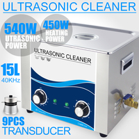 15L Ultrasonic Cleaner 540W Mechanical Heater 40KHZ Stainless Steel Bath Industrial Transducer PCB Board Lab Hardware Car
