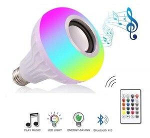 Image 3 - Musica di Bluetooth Intelligente Lampada E27 RGB Wireless Speaker Lampadina 220 V 12 W HA CONDOTTO LA Luce Lettore Audio Dimmable 24 Tasti remote Controller