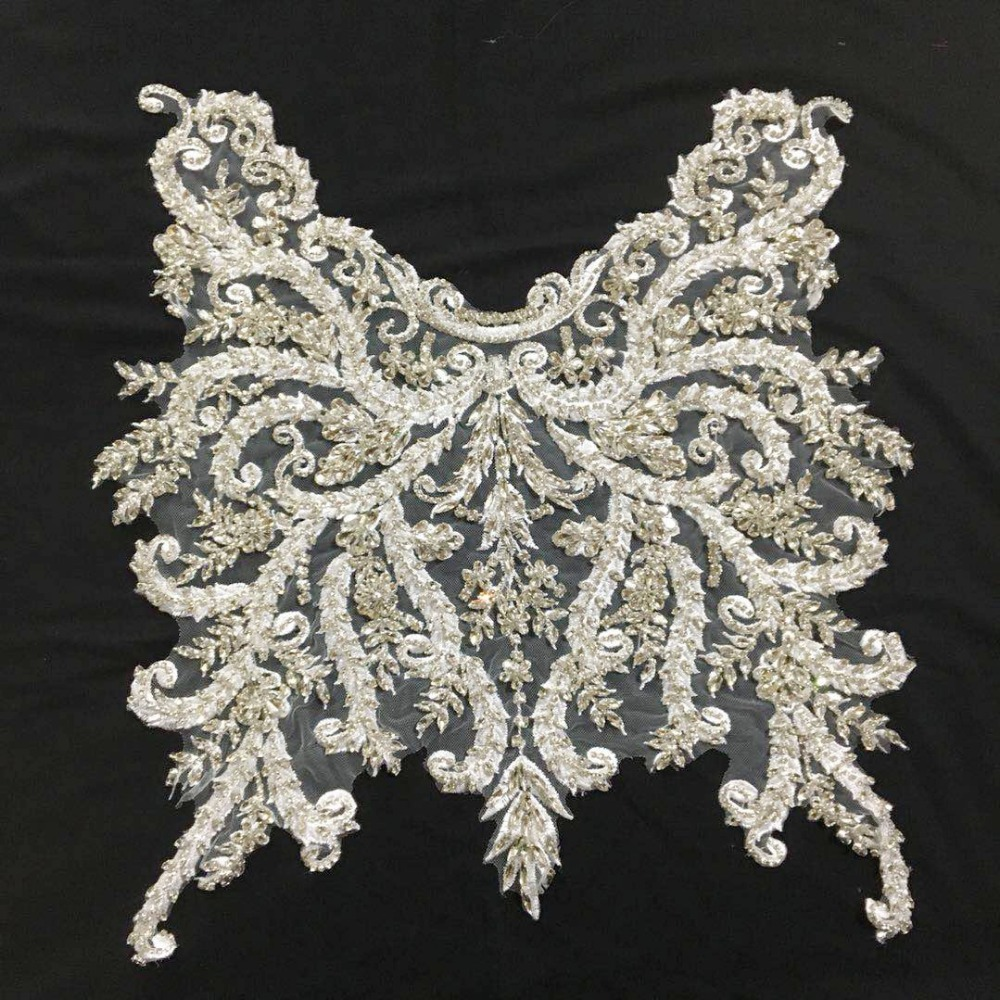 Silver Gold Full Range Of Specifications And Sizes And Great Variety Of Designs And Colors Wedding Gown Couture Dress Motif Lace Famous For High Quality Raw Materials Dedicated 1 Pc Deluxe 3d Luxury Bridal Gown Bodice Rhinestone Applique In Rose Gold