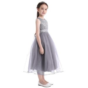 Image 3 - iiniim 2 14 Years Toddle Costume Tutu Baby Girls Flower Mesh Lace Dress Birthday Party Princess Dress Kids Communion Dresses