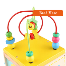 Montessori  Wooden Educational Preschool Toys Activity Cube Toys Baby Wooden Bead Maze For Toddlers Oyuncak Brinquedo Para Bebe