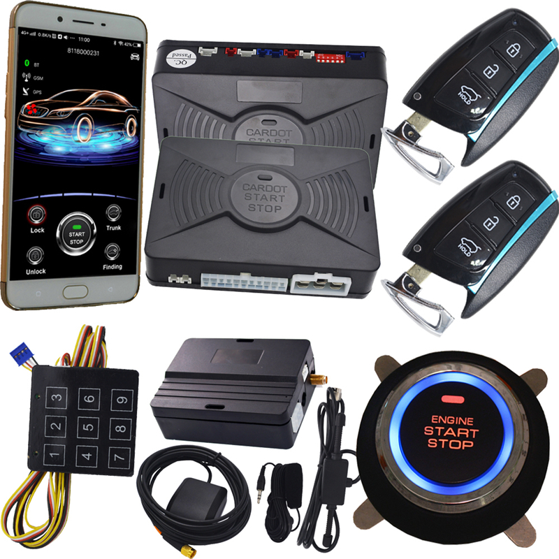New app start stop engine car security alarm system with hands free feature remote engine start