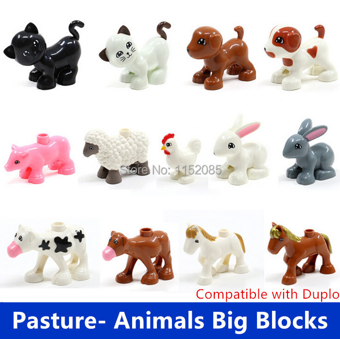 Retail Big Building Blocks Pasture Animals Sheep Rabbit Dog Horse Pig Cat Cock Cow Compatible with Duple Baby Educational Toys funlock duplo blocks toys farm animal figures bunny cat dog cow pony pig sheep rooster educational toys for kids gifts
