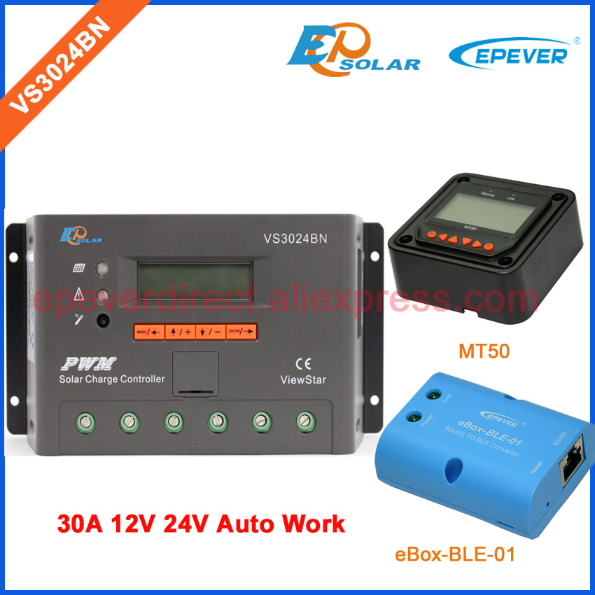 MT50 remote meter Solar Charger VS3024BN 30A 30amp PWM EPEVER Controller Regulator 12v 24 auto work bluetooth BOX vs3024bn new pwm controller network access computer control can connect with mt50 for communication