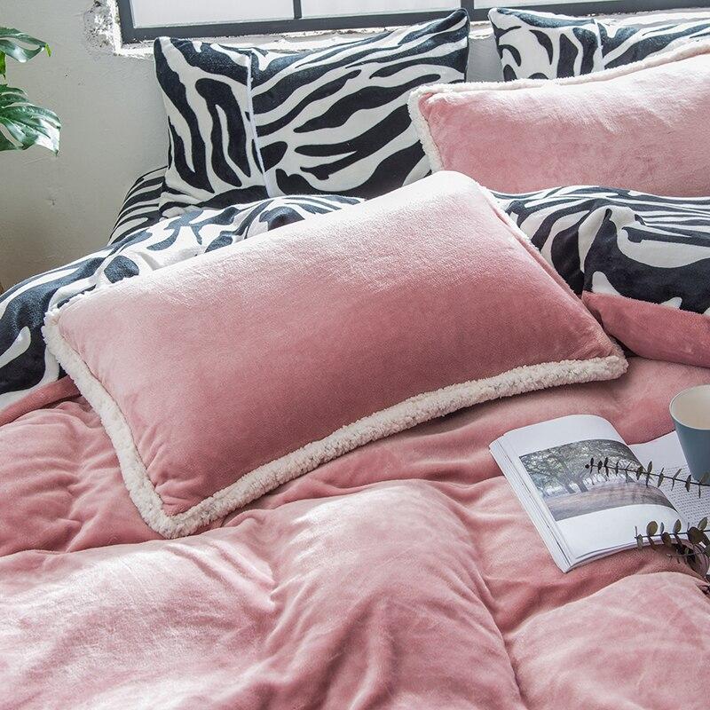 Розовая, серая, фиолетовая, зеленая флисовая ткань, Комплект постельного белья, бархат, фланель, пододеяльник, черный, белый, с рисунком зебр... - 6