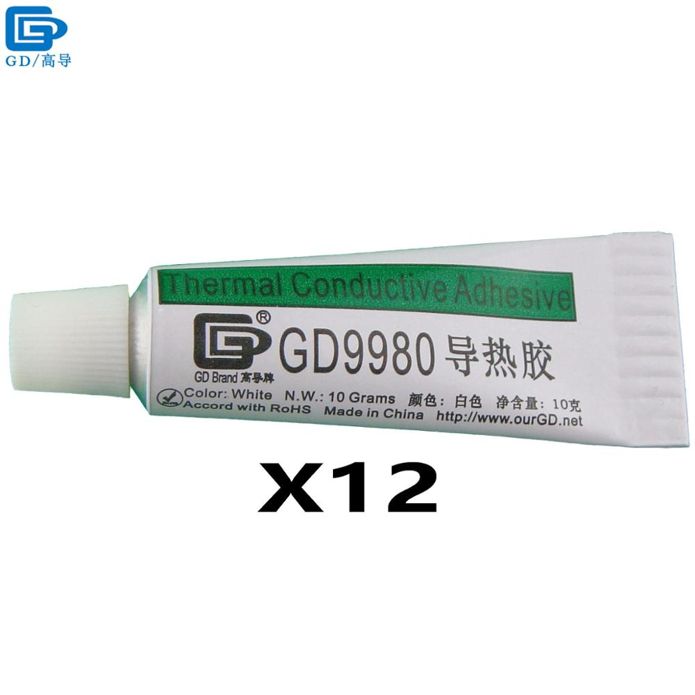 GD Brand Thermally Conductive Adhesive Glue GD9980 Heat Sink Plaster With Adhesive 12 Pieces White Net Weight 10 Grams ST10 gd brand thermal conductive grease paste silicone plaster gd460 heat sink compound net weight 1000 grams silver for led cn1000