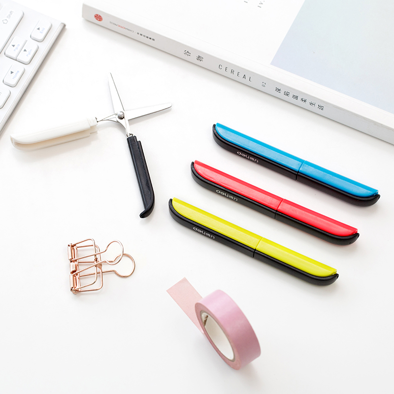 Portable Stationery Scissors Blue Red Yellow Folding Scissors Scrapbook Craft Scissors For Student School Office Supplies