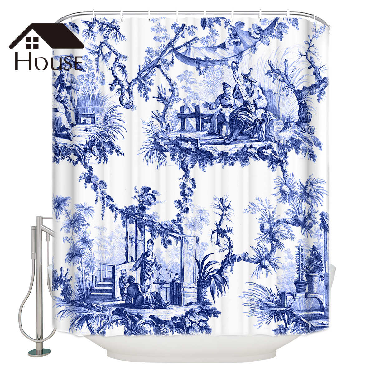 BIGHOUSES Shower Curtain  Blue Chinoiserie Toile  Fabric Shower Curtain  Bathroom Decor with Hooks
