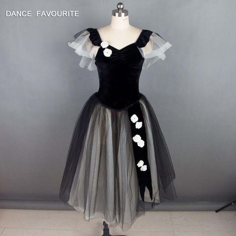 Black Velvet Bodice Ballet Long Tutu Women Stage performance Ballet Costumes Ballerina Dance Tutu