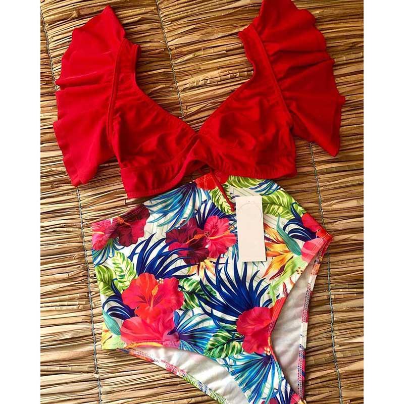 HTB1GaTRaoLrK1Rjy0Fjq6zYXFXaI Floral Ruffled Hem Bikini Set Women Flora V-neck High-waisted Two Piece Swimsuit 2018 Girl Beach Bathing Suit Swimwear Biquinis