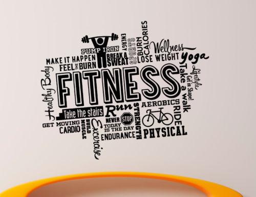 Fitness gym wall decal vinyl sticker sport diy mural