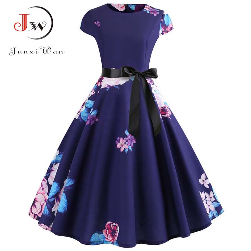 Women Vintage Dress 2019 Summer Floral Print Short Sleeve Dresses 50s 60s Office Party Rockabilly Swing Retro Pinup Plus Size 1