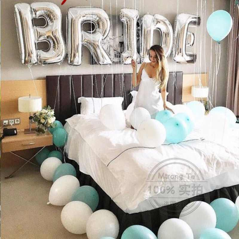 9pcs/lot 30inch Silver Gold Bride To Be Letter Foil Balloons Diamond Helium Balloon Wedding Valentine's Day Party Decoration