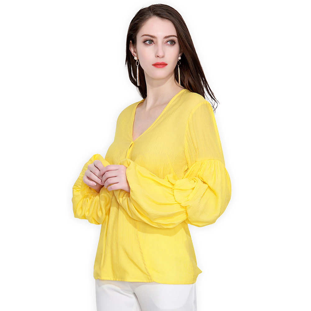 Soie Ol Femmes Blouses Jaune Chemise De 4xl Blusas D'été Mousseline Chemises En Tops Femelle Manches Décontracté Bouffantes 2018 qqxYwnUdrz