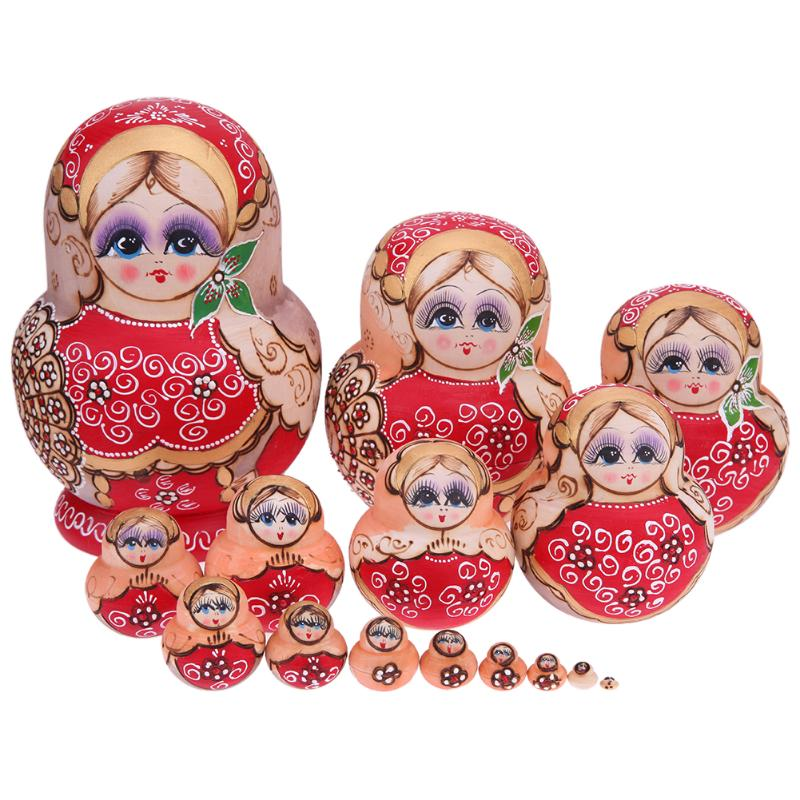 15Pcs/Set Red Wooded Flower Russian Matryoshka Dolls Handmade Craft Russian Nesting Dolls Toy for Collection Gift Home Decor sticker doodle russian dolls
