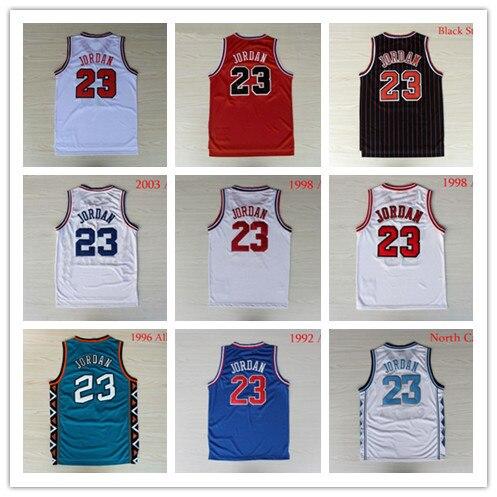 614ea76361c Retro Chicago Michaels Jordan Jersey Red Black Stripes Blue North Carolina  Collage Basketball Jersey Jordan Blue White Red USA