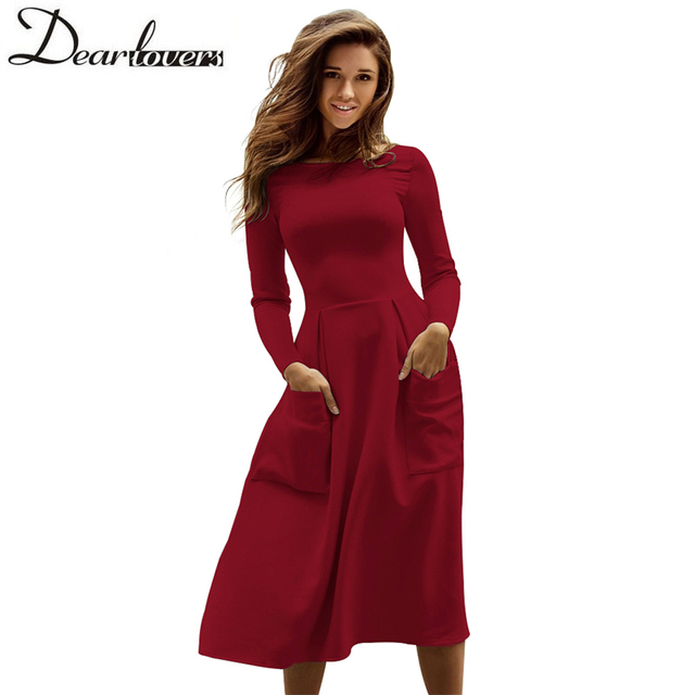 c7114e3a80 Dear lovers Winter Autumn Women Casual Midi Dresses Skater Dress Female  Long Sleeve Burgundy Sexy Office Pleated Dress LC61891