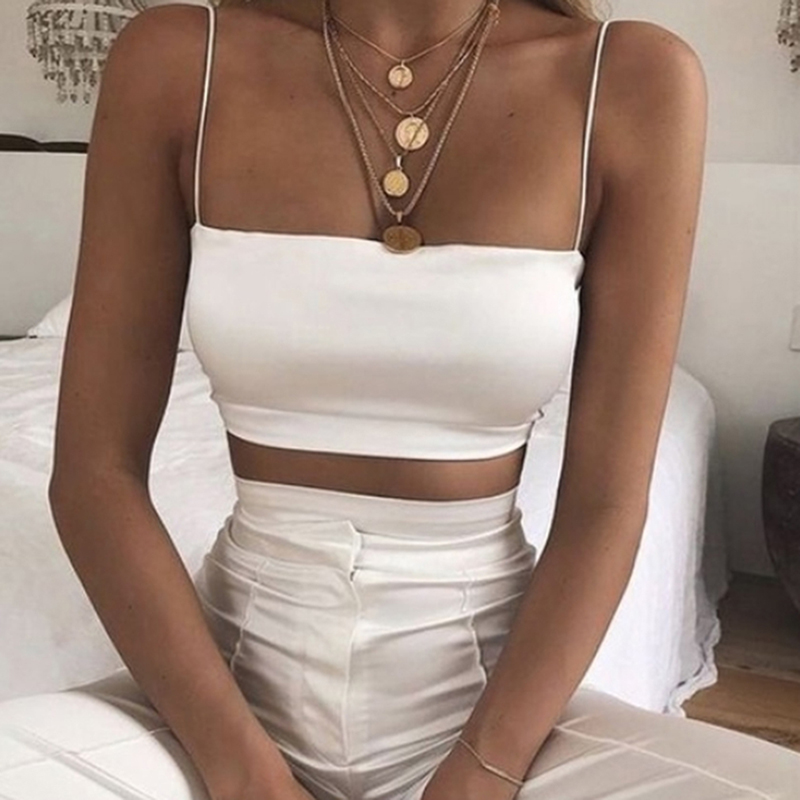 Summer Female <font><b>Sexy</b></font> Spaghetti Sleeveless Vest <font><b>Crop</b></font> <font><b>Top</b></font> Streetwear Camisole Ladies Fashion Tank <font><b>Tops</b></font> 2019 New image