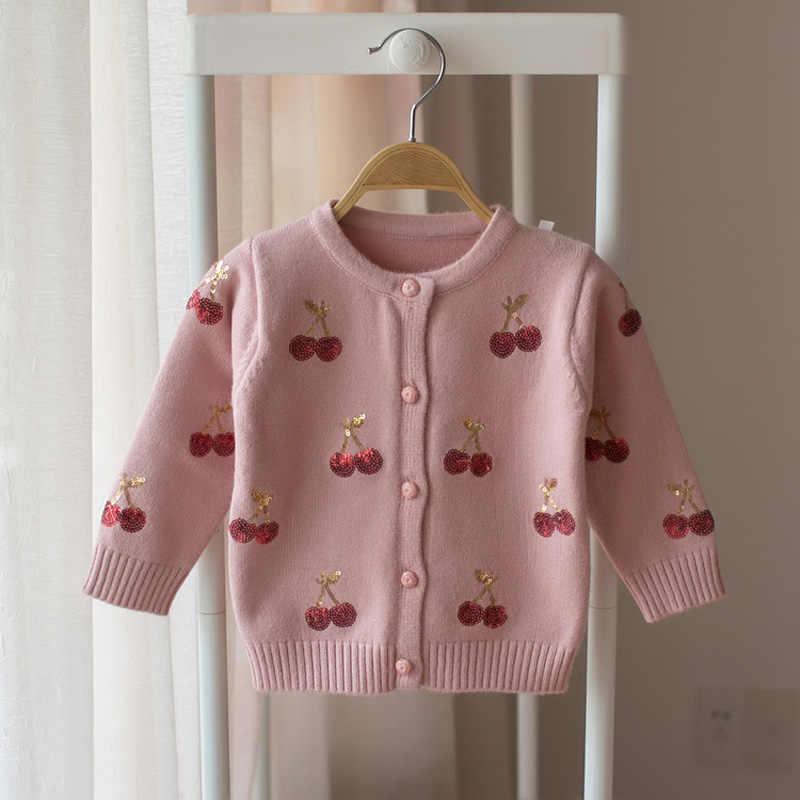 밀라노 체리 니트 아기 소녀 스웨터 키즈 봄 스웨터 어린이 카디건 소녀 스팽글 겉옷