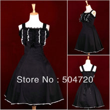 Freeshipping!  Black cotton  Classic Gothic sweet Lolita Dress/victorian dress cosplay with Lace