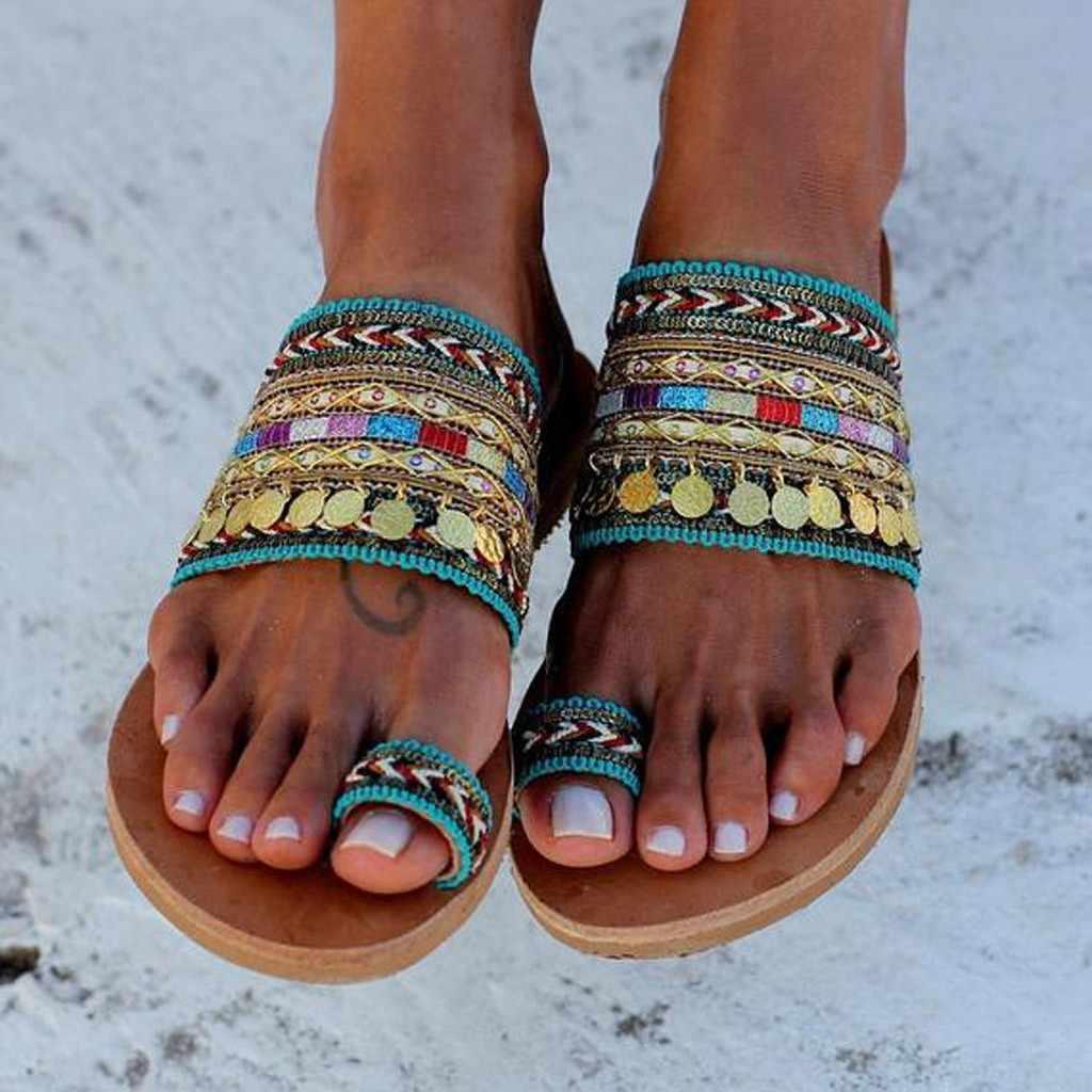 SAGACE-2019 スリッパ女性職人国家サンダルフリップフロップ手作りギリシャスタイル自由奔放に生きるフリップフロップサンダルマルチサイズ 35-43 G2