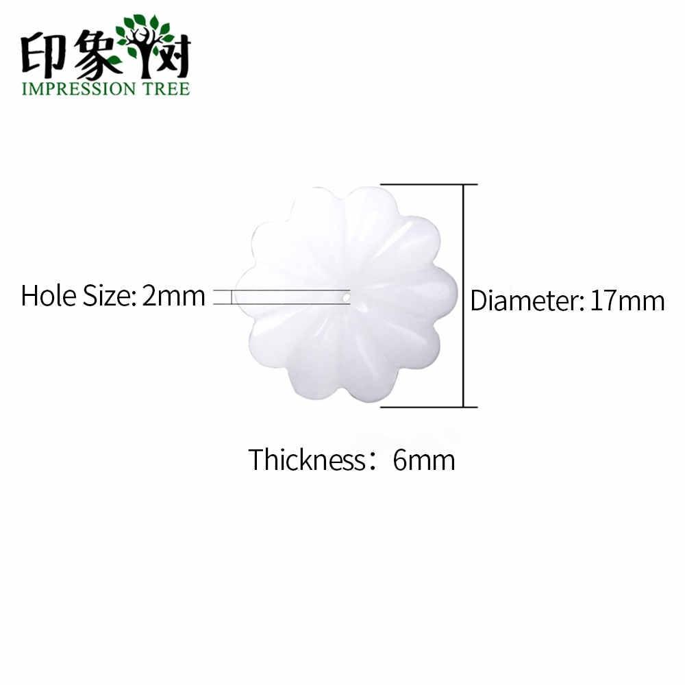 2 PC 26 มม.ขัดสีขาวธรรมชาติ Jad E Daisy ดอกไม้จี้ 3D Carven กลีบสร้อยคอ Charms DIY เครื่องประดับ 18096
