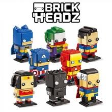 Бесплатная доставка DC Marvel Brickheadz Супермен Бэтмен, Железный человек Капитан Америка Халк легос кирпич хедз Модель Строительный блок Набор Игрушек