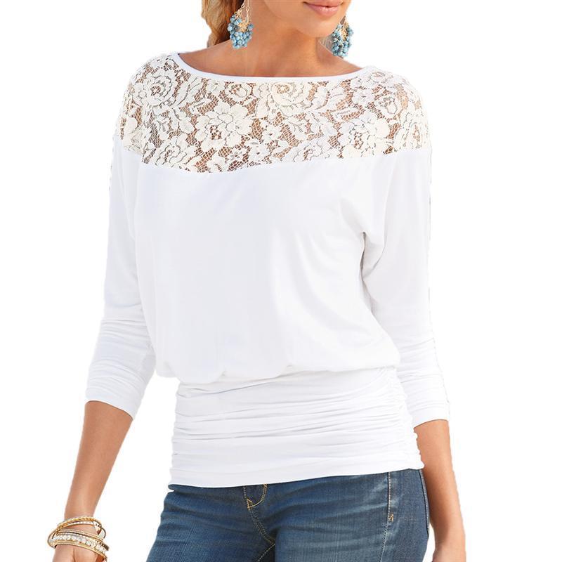 Žene Čipka šivanje šifon bluze labav tip Slash vrat majice - Ženska odjeća - Foto 2