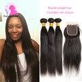 "Brazilian Virgin Hair With Closure 3 Bundles straight hair with closure 4""x4 "" Lace Closure With 8A Soft Human Hair Extensions"
