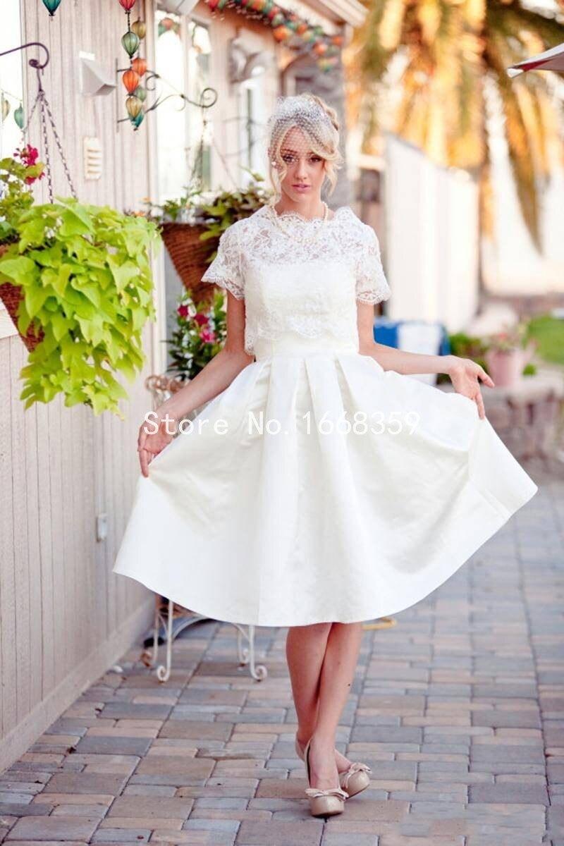 Fashionable Two Piece Lace Short Wedding Dress Tea Length Short