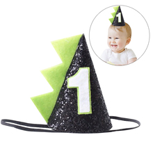 2019 New Fashion Dinosaur Party Hat Headband Glitter Sequin Style First Birthday Cone For Baby