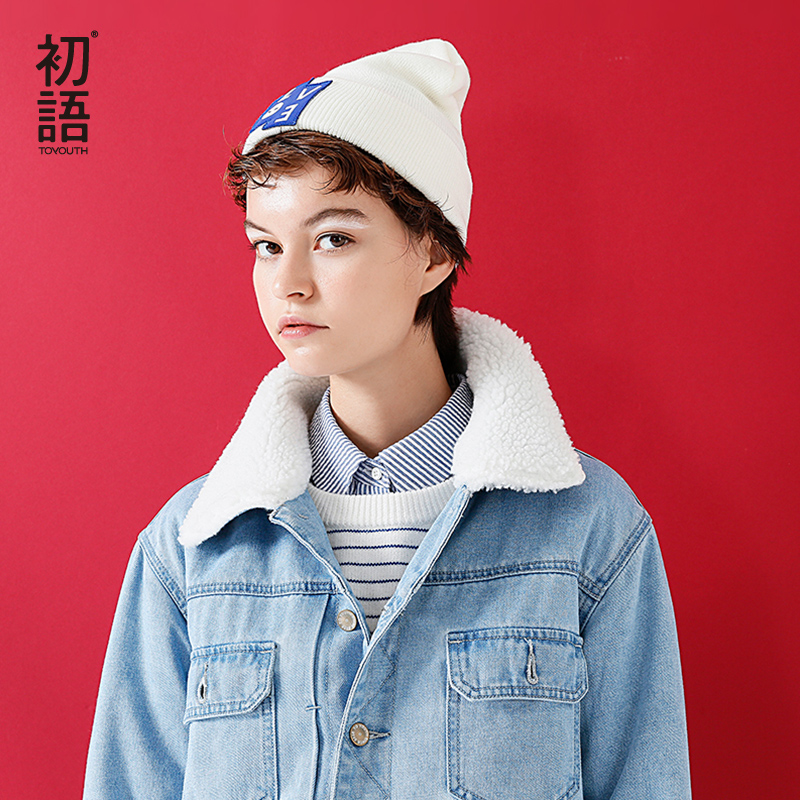 Toyouth Parkas Coats 2019 Winter Women Casual Patchwork Wool Lambs Turn Down Collar Fashion Denim Jacket