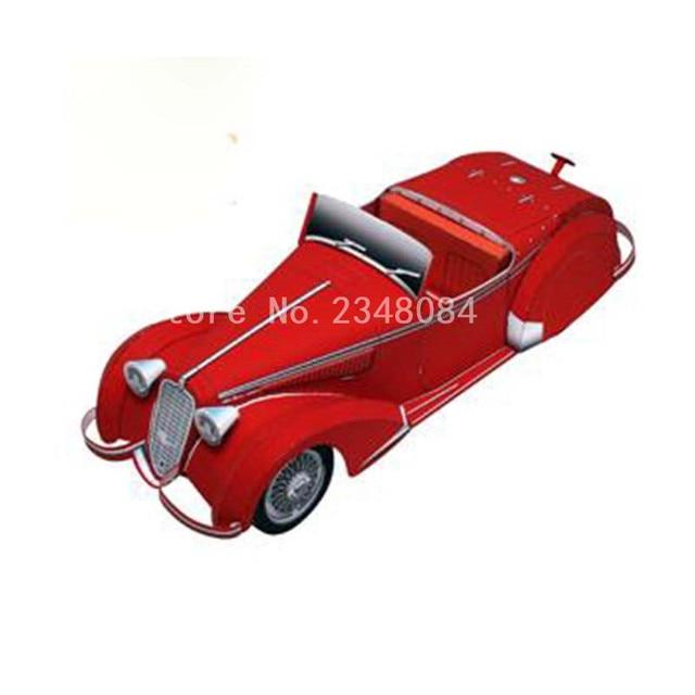 3D Paper Model Cars Alfa Romeo 8C2900B DIY Craft Handmade Vehicle Toys For