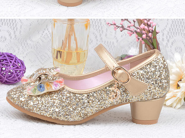 1_132016 spring Kids Girls High Heels For Party Sequined Cloth Blue pink Shoes Ankle Strap Snow Queen Children Girls Pumps Shoes