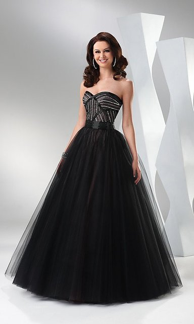 Elegant Black Ball Gown by Flirt Strapless ball gown with beaded bodice Prom dresses