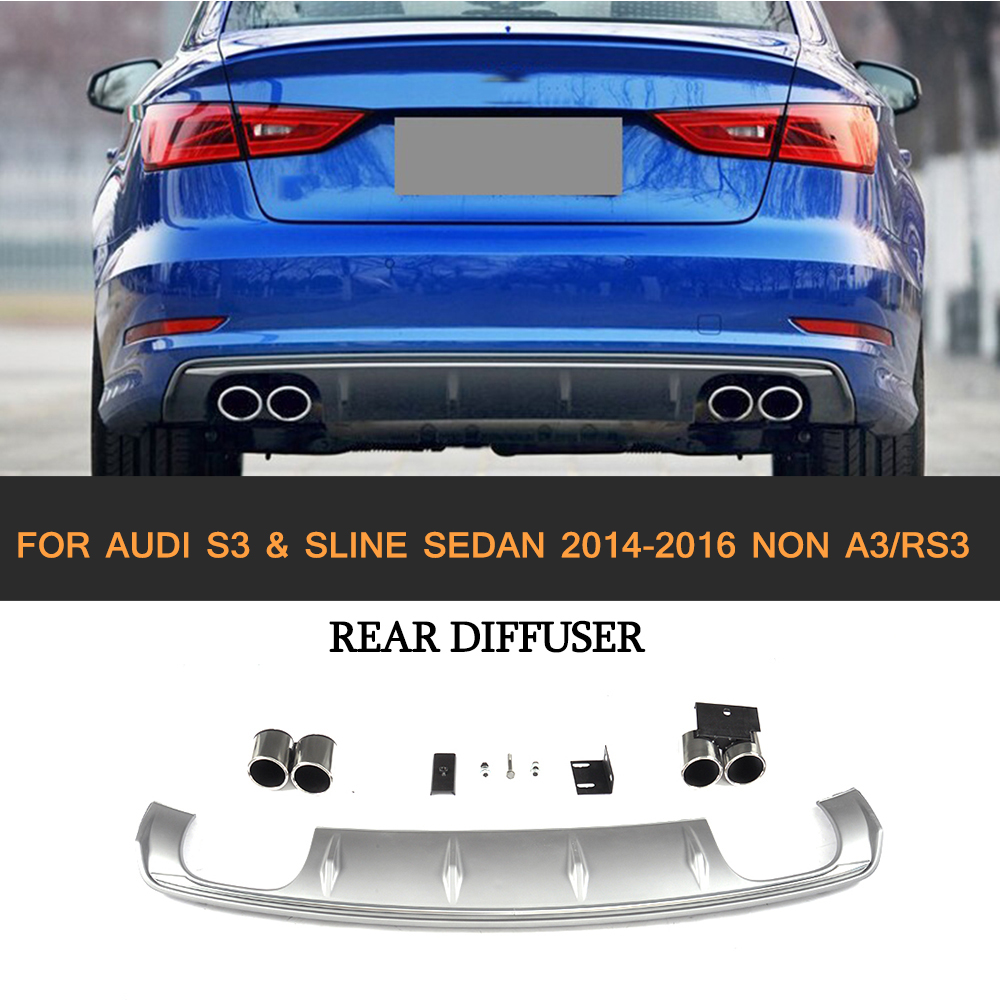 PP Car Rear Bumper Lip Diffuser With Exhaust Muffler Tips For Audi S3 Sline Sedan 4 Door Non A3 RS3 2014-2016