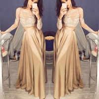Elegancka cekinowa sukienka Maxi kobiety koronkowa z długim rękawem formalna plisowana sukienka na przyjęcie wąska talia moda długie Sukienki Vestidos Sukienki