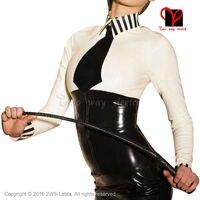 Секс школа хозяйка латекс блузка с черным галстуком с длинными рукавами резиновая форменная рубашка лучших Gummi одежда XXXL плюс SY 031