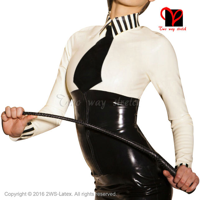 Sex School Mistress Latex blouse with black tie long sleeves Rubber uniform font b shirt b