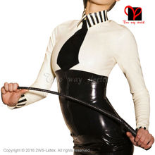 Sex School Mistress Latex blouse with black tie long sleeves Rubber uniform shirt top Gummi clothes