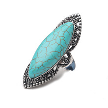 Silver Zinc Alloy Big Bohemian Rings Carved Vintage Geometric Ring with Stone for Women Party Jewelry Decoration Anelli vintage alloy faux sapphire geometric ring for women