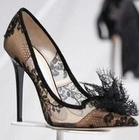 Sexy Lady Black Lace Pointed Toe High Heel Shoes Real Photo Large Size Custom Make Black