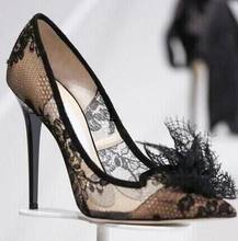 sexy lady black lace pointed toe high heel shoes real photo large size  custom make black lace woman high heels 086ae4e5402c