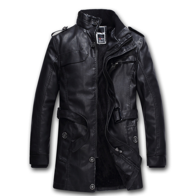 2016 Winter New Long Stand Collar Men Fashion Leather Jacket High Quality Warm Velet Lining Long Leather Coat Men