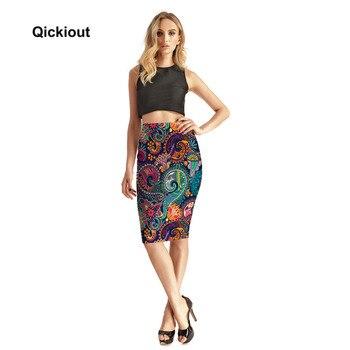 Qickitout Skirts Fitness New 2017 Fashion Women's Sexy Aztec Round Ombre Skirts High Waist Package Hip Skirt Saia Midi Plus Size 3
