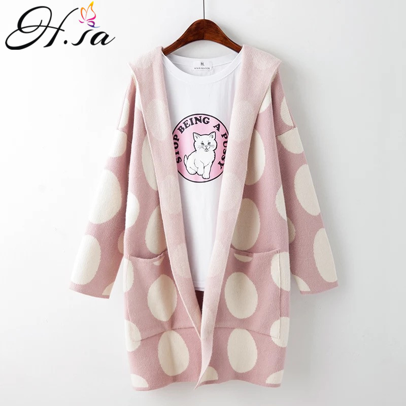 H.SA Women Cardigan Sweater Coat 2016 Autumn Poncho Hooded Cardigans Long Coat Female Oversize Knitwear BIG BOT Long Jacket